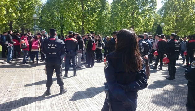 Protesta estudiantil en la UPNA.