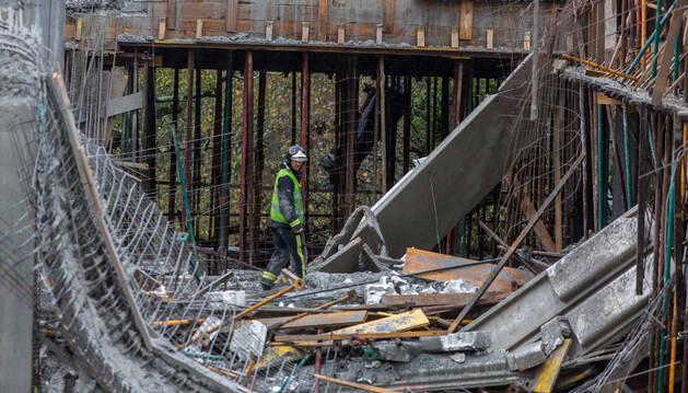 Estado en el que quedó la venta de Dantxarinea tras el derrumbe de una parte de la estructura.