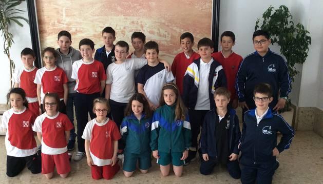 Los escolares de los cuatro equipos de Navarra.