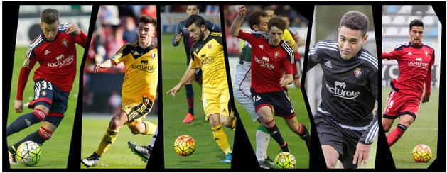 De izquierda a derecha, Álex Berenguer (20 años), Aitor Buñuel (18), José García (19), Miguel Olavide (20), Antonio Otegui (18) y Mikel Merino (19), los seis jugadores más jóvenes de la plantilla de Osasuna esta temporada.