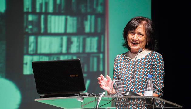 Elisa Delibes, durante la presentación del archivo personal y literario de Miguel Delibes digitalizado.