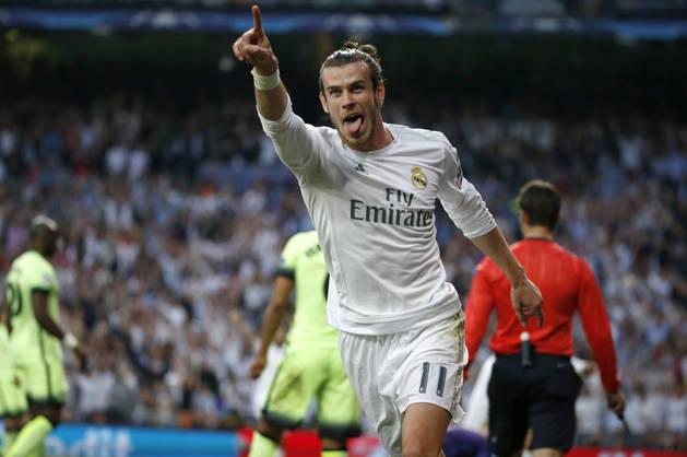 Bale celebra el 1-0 contra el Manchester City.