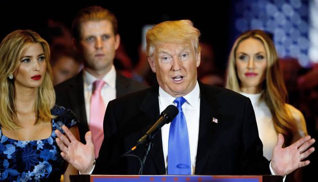 El candidato Donal Trump, el martes en Indiana.