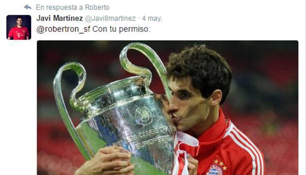Respuesta de Javi Martínez en Twitter.