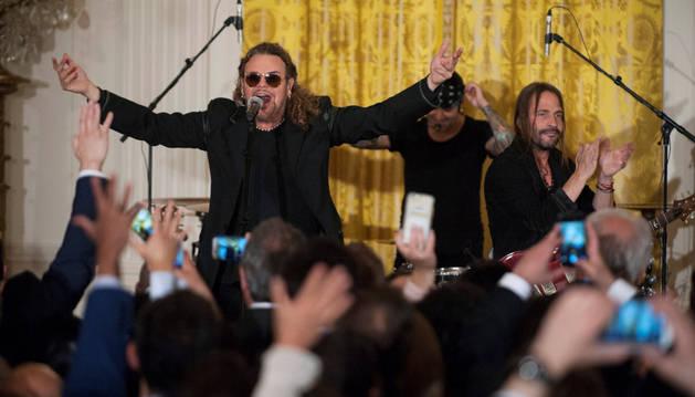 La banda mexicana Maná, en el concierto ofrecido en la Casa Blanca.
