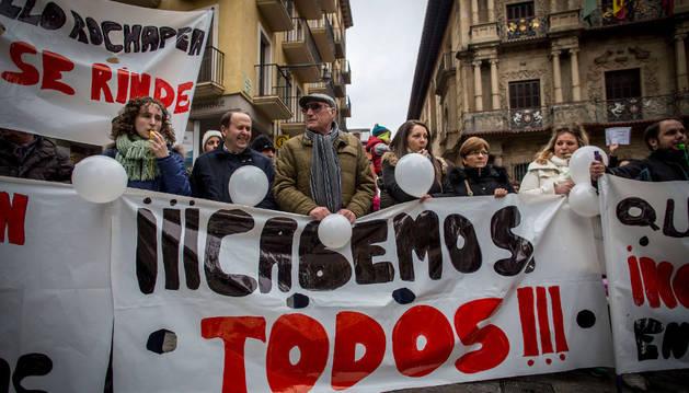 Protesta de las familias de las escuelas afectadas por los cambios, el pasado febrero.