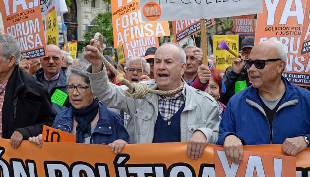 Afectados de Fórum y Afinsa exigen una solución en Madrid