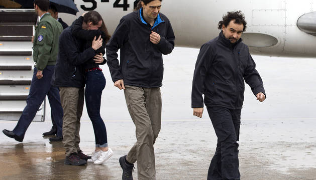 Sastre, Pampliega y López, por fin en casa tras casi un año de secuestro
