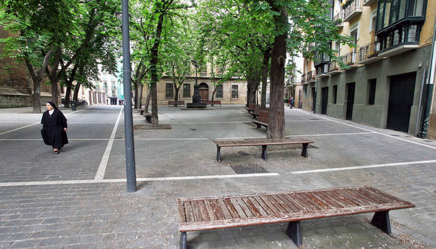 La plaza de San José, junto a la Catedral, uno de los espacios que ha solicitado Gora Iruñea para organizar comidas populares en San Fermín.