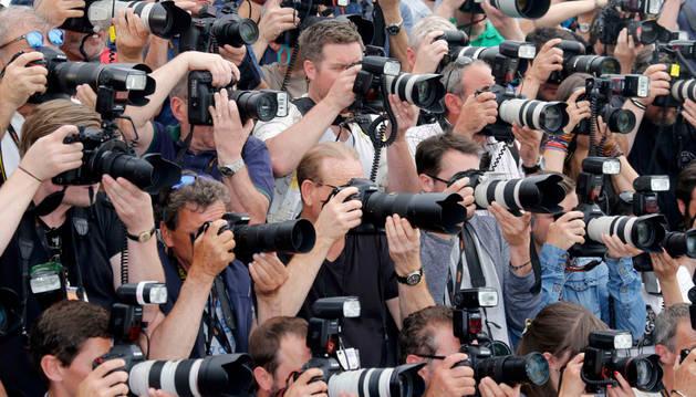 Prensa en el Festival de Cannes.
