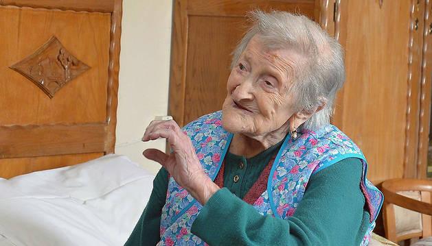 La italiana Emma Morano, de 116 años, durante una entrevista en su residencia de Verbania, Italia.