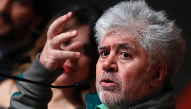El director de cine español Pedro Almodóvar, durante la presentación de 'Julieta' en Cannes.