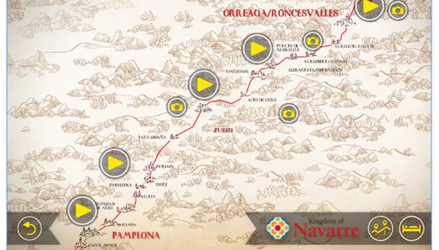 Imagen de una de las rutas por Navarra de la aplicación 'Camino de Santiago 360º'.