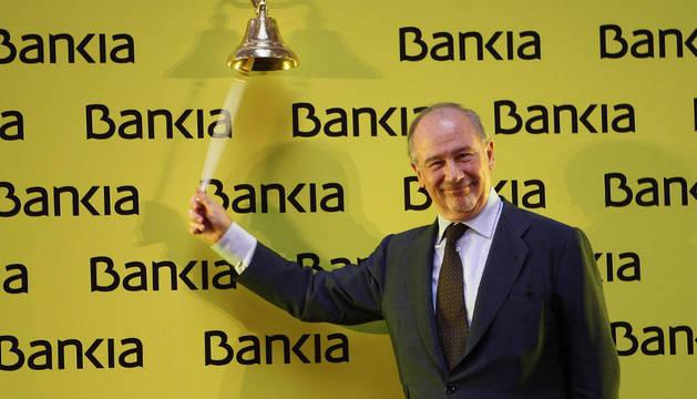 Rodrigo Rato, el día del estreno bursátil del banco.