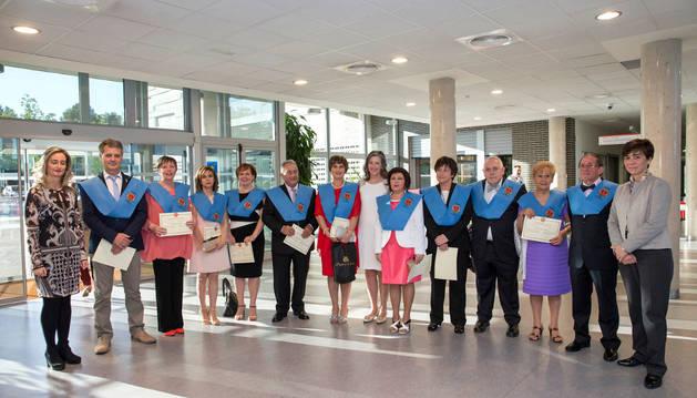 Los once alumnos pertenecientes a la IX promoción del Aula de la Experiencia de Tudela.