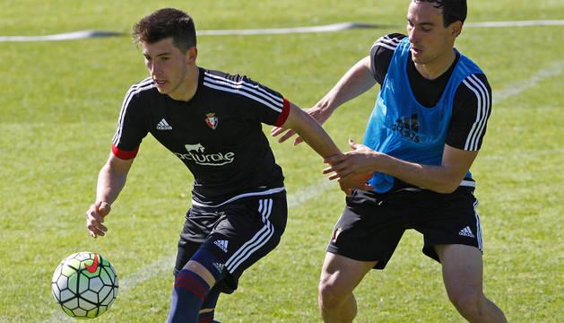 David García y Unai García, en un entrenamiento.