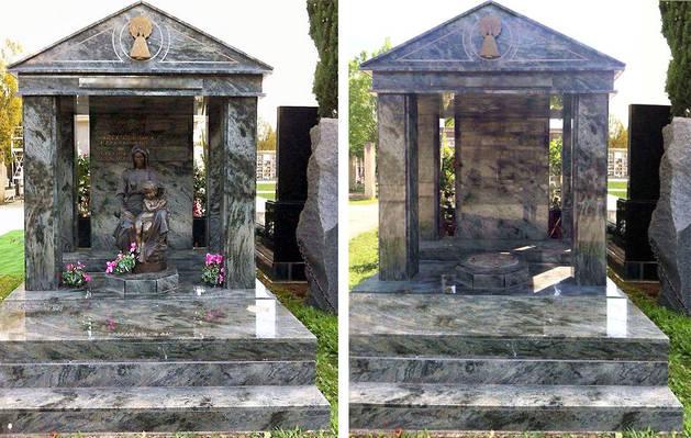 ANTES Y DESPUÉS. En la dos imágenes superiores, uno de los panteones del cementerio de Pamplona afectado por el robo. En este caso concretamente ha desaparecido la imagen de la virgen con el niño, una escultura de bronce de 1,70 metros de altura que tuvo