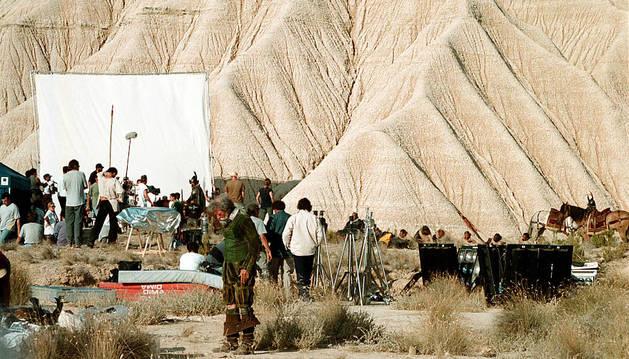 Rodaje de El hombre que mató a Don Quijote, el 26 de septiembre del año 2000, en la zona de Piskerra, en las Bardenas.