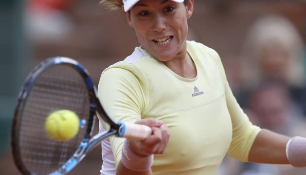 Garbiñe Muguruza, en el partido contra la eslovaca Anna Karolina Schmiedlova.