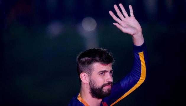 Piqué, durante la celebración del Barcelona.