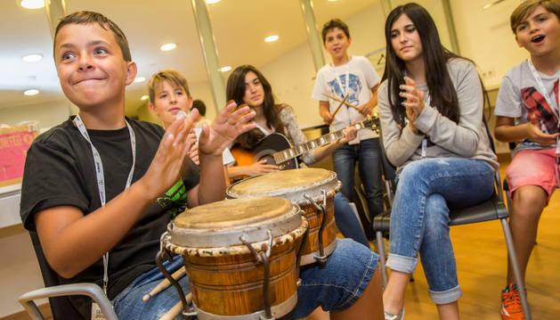 Algunos alumnos participantes en 'Campus Promete', en Baluarte (Pamplona), en agosto de 2015.