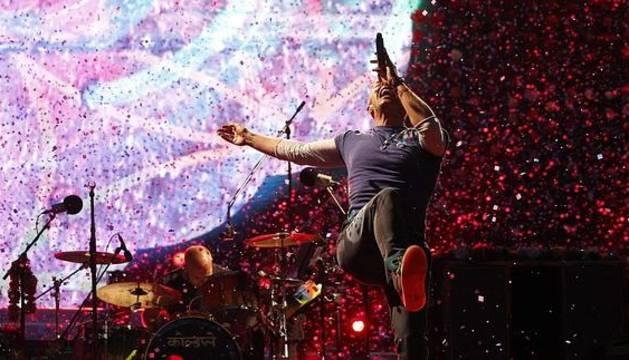 Chris Martin, durante el concierto.