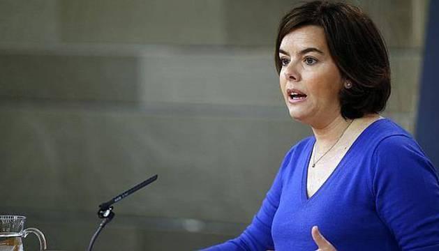Soraya Saénz de Santamaría en rueda de prensa tras la reunión del Consejo de Ministros.
