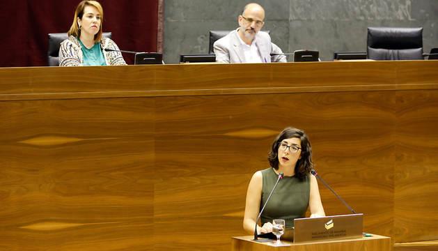 Laura Pérez, durante su intervención en el pleno monográfico sobre Educación.