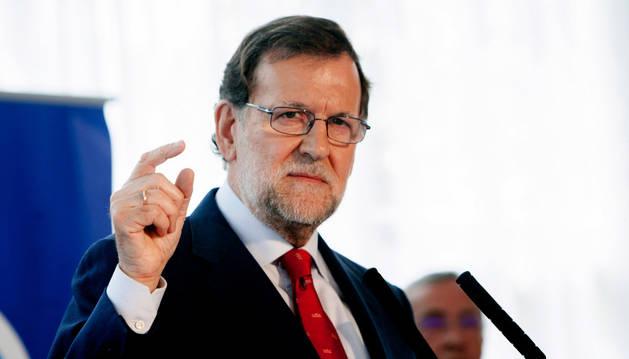 El presidente del Gobierno, Mariano Rajoy, durante su intervención en un almuerzo en Badajoz