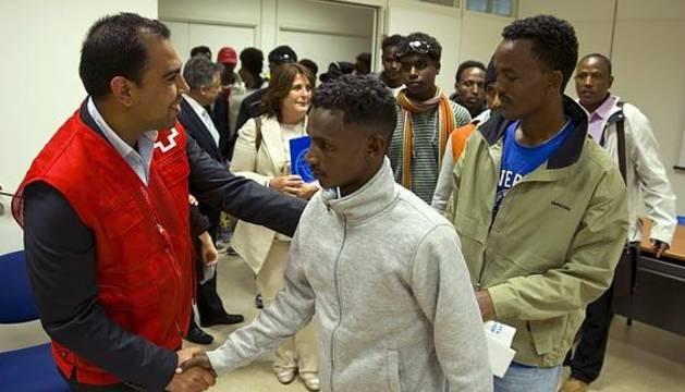 Un grupo de refugiados en su llegada a España la semana pasada.
