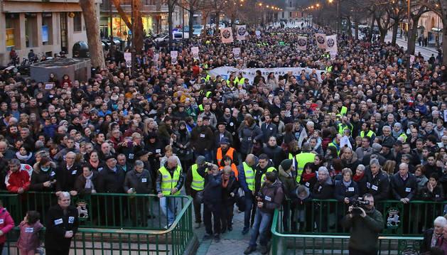 Manifestación en el Paseo de Sarasate de Pamplona.