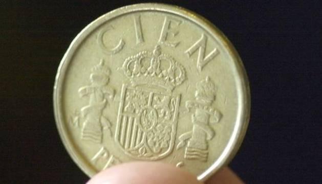 Moneda de cien pesetas.
