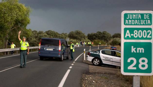 Un control de tráfico, en las afueras de Sevilla.