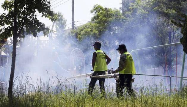 Trabajadores sanitarios fumigan un parque infantil en un barrio residencial.
