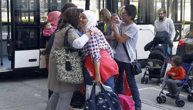 El grupo de refugiados que ha aterrizado hoy en Madrid.
