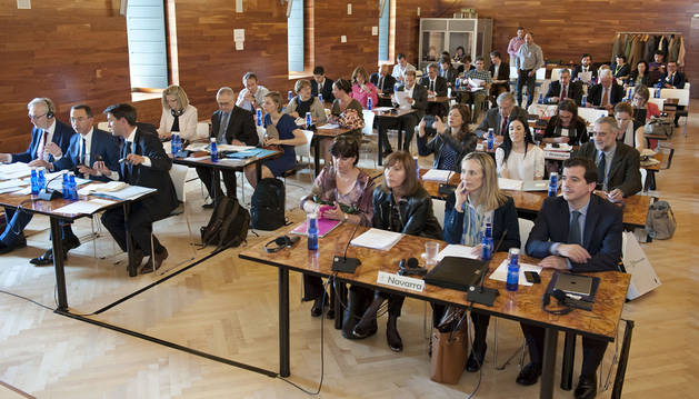Asistentes a la asamblea, en primer término la delegación de Navarra.