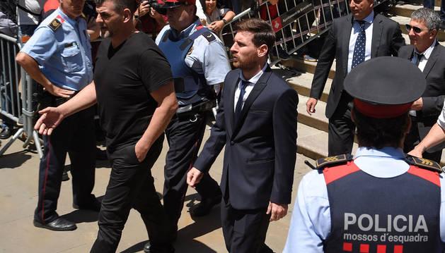Messi, tras declarar ante la Audiencia de Barcelona.