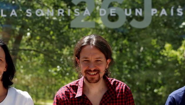 El líder de Podemos, Pablo Iglesias, durante la presentación de las líneas maestras y calendario de la próxima campaña electoral.