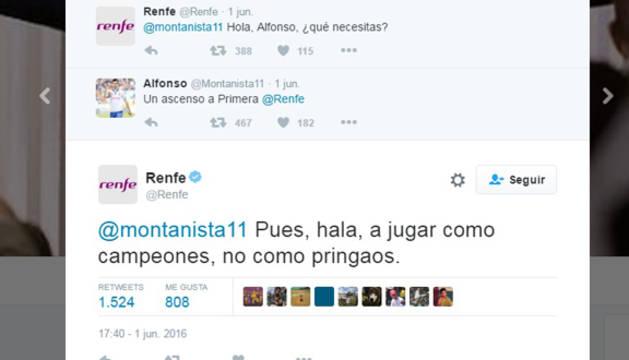 Conversación polémica en Twitter de Renfe y un aficionado del Zaragoza.