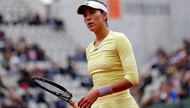Garbiñe Muguruza, en pleno torneo de Roland Garros.
