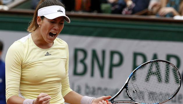 Garbiñe Muguruza celebra un gol contra Williams.