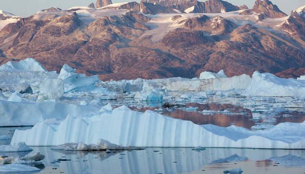 Imagen del glaciar Helheim en el Fiordo Sermilik en Groenlandia.