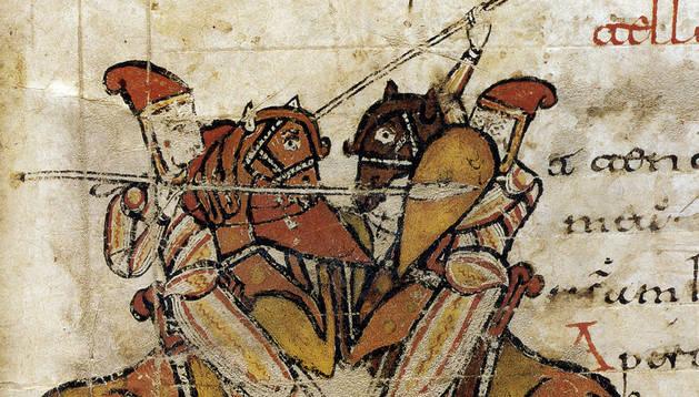 Dos jinetes combaten en una miniatura del Psalterio y Liber Canticorum de San Millán de la Cogolla.