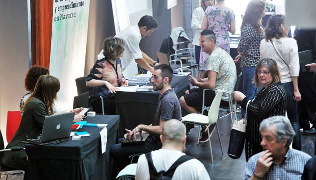 Imagen de la actividad que ofrecía ayer Baluarte durante la celebración del foro 'Navarra Jobs'.