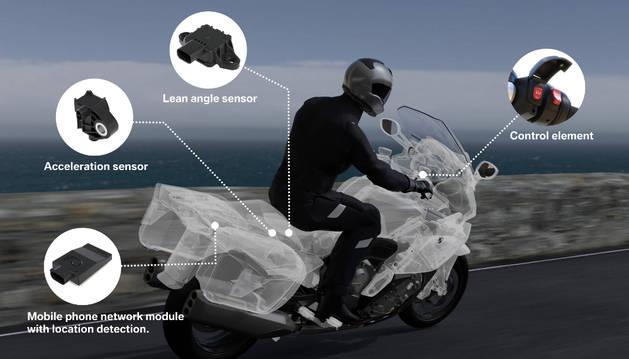 Si el motorista no ha podido activar por si mismo el botón de SOS, la propia moto dispone de otros elementos de detección de accidente, como el sensor de ángulo, que activaría el protocolo.