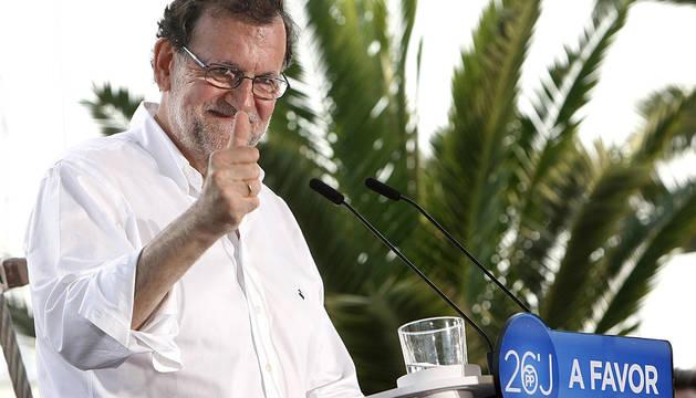 Mariano Rajoy, durante un mitin electoral celebrado en Torrevieja.