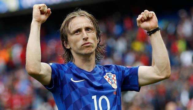 Modric celebra la victoria de su selección.