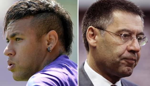 Neymar (i) y Bartomeu.