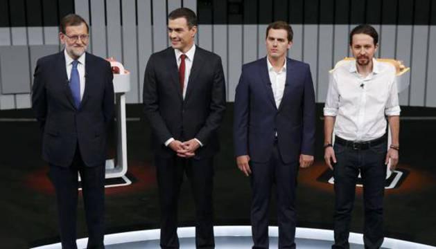 Rajoy, Sánchez, Rivera e Iglesias, antes del debate.