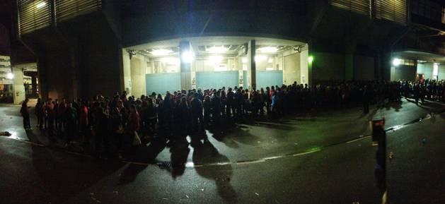 Colas en El Sadar al término del partido contra el Girona.